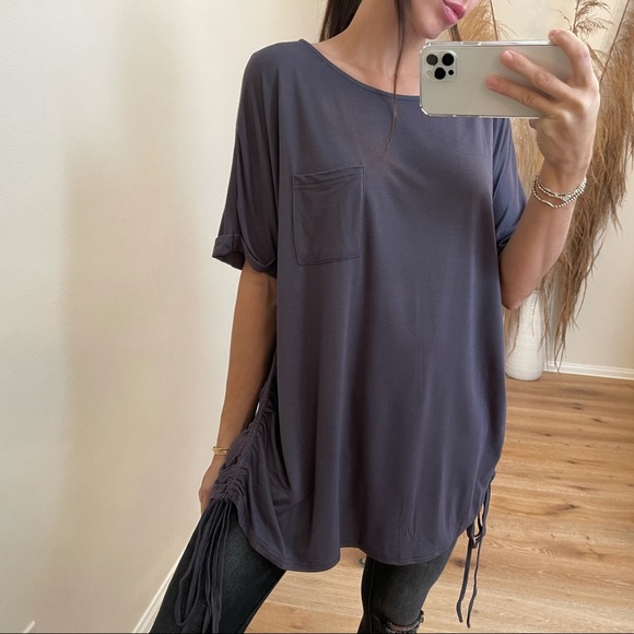 🆕Kennedy Ruched Sided Top | Gunmetal